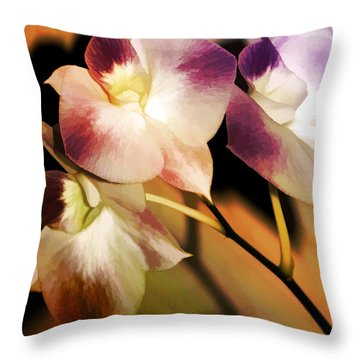Hot Orchid Nights Throw Pillow by Holly Kempe