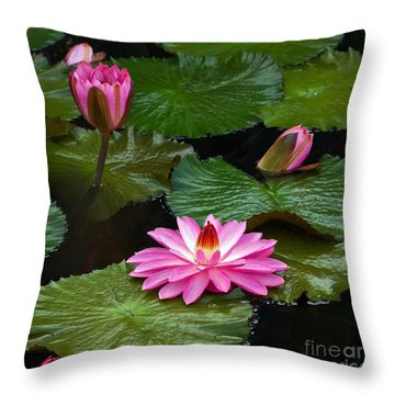 Hot Pink And Green Tropical Waterlilies Throw Pillow