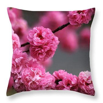 Hot Pink Blossom Throw Pillow by Joy Watson