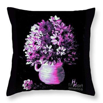 Hot Pink Flowers Throw Pillow