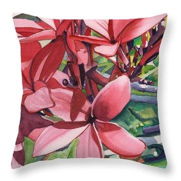 Hot Pink Plumeria Throw Pillow