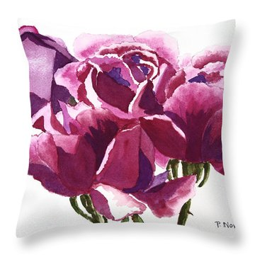 Hot Pink Roses Throw Pillow by Patricia Novack