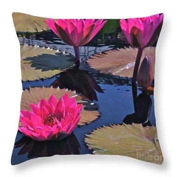 Hot Pink Tropicals Throw Pillow