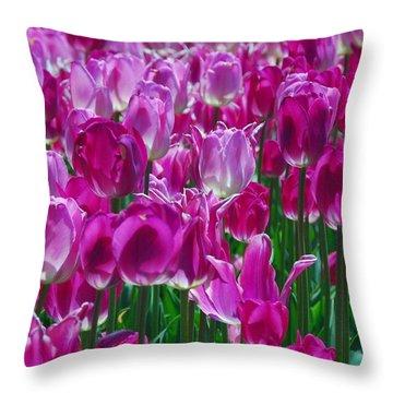 Hot Pink Tulips 3 Throw Pillow by Allen Beatty