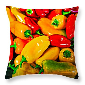 Hot Red Peppers Throw Pillow