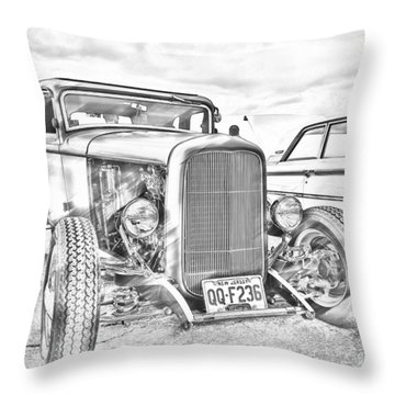 Hot Rod Faux Sketch Throw Pillow