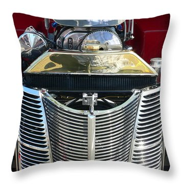 Throw Pillow featuring the photograph Hot Rod Polished Steel Engine And Grill by Jeff Lowe