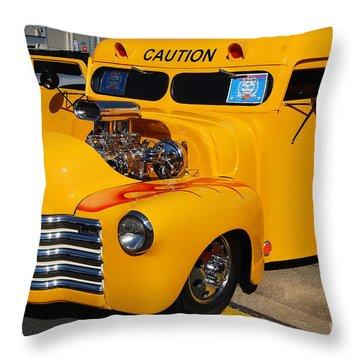 Hot Rod School Bus Throw Pillow