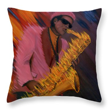Hot Sax Throw Pillow by Jeff McJunkin