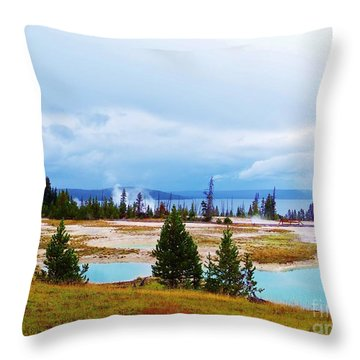 Throw Pillow featuring the photograph Hot Spring by Larry Campbell