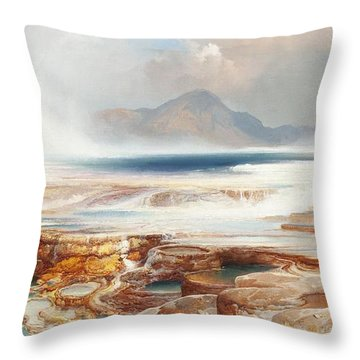 Hot Springs Of Yellowstone Throw Pillow by Thomas Moran