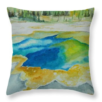 Throw Pillow featuring the painting Hot Springs Yellowstone National Park by Geeta Biswas