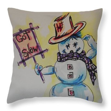 Hot Stuff.... Got Snow Throw Pillow by Chrisann Ellis