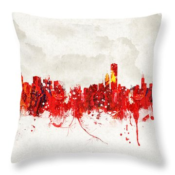 Hot Summer Day In Chicago Throw Pillow by Aged Pixel