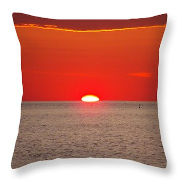Hot Sun Seems To Melt Into The Sea Throw Pillow by Eunice Miller