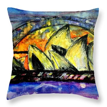 Hot Sydney Night Throw Pillow by Lyndsey Hatchwell