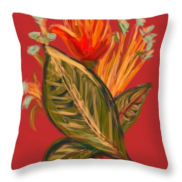Throw Pillow featuring the digital art Hot Tulip L by Christine Fournier