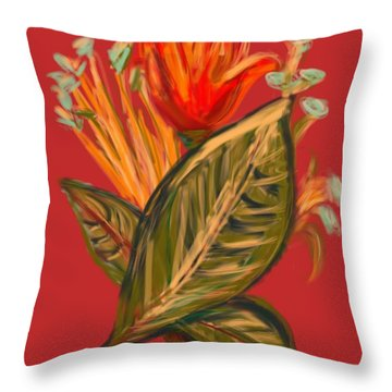 Throw Pillow featuring the digital art Hot Tulip R by Christine Fournier