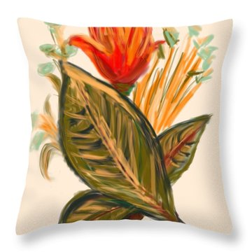 Throw Pillow featuring the digital art Hot Tulip Spring by Christine Fournier