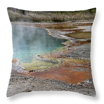 Throw Pillow featuring the photograph Hot Water At Yellowstone by Laurel Powell