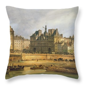 Hotel De Ville And Embankment, Paris, 1828 Oil On Canvas Throw Pillow
