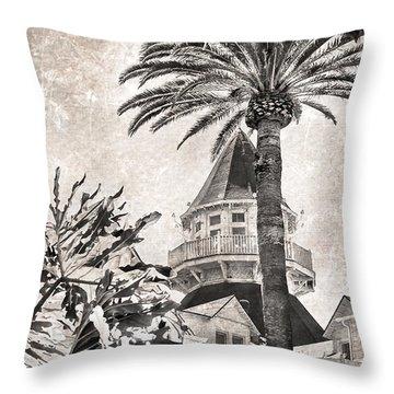 Hotel Del Coronado Throw Pillow by Peggy Hughes