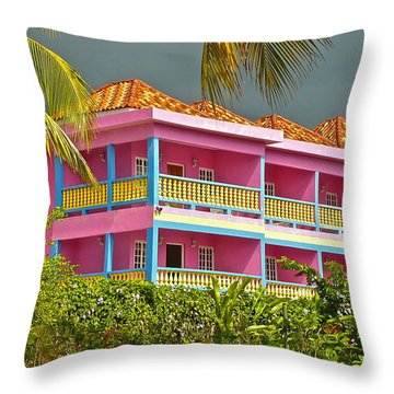 Hotel Jamaica Throw Pillow by Linda Bianic