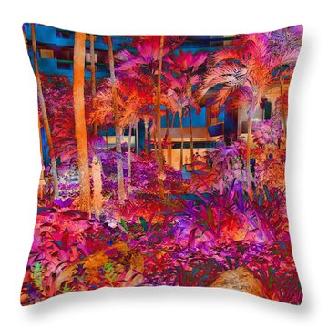Hotel Lobby In Maui Throw Pillow by Connie Fox