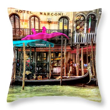 Hotel Marconi.venice. Throw Pillow by Jennie Breeze