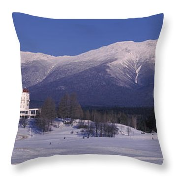 Hotel Near Snow Covered Mountains, Mt Throw Pillow