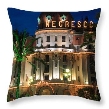 Hotel Negresco By Night Throw Pillow by Inge Johnsson