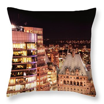 Throw Pillow featuring the photograph Hotel Vancouver And Wall Center Mdccv by Amyn Nasser