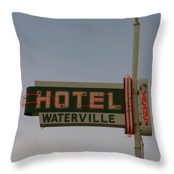 Hotel Waterville Neon Sign Throw Pillow