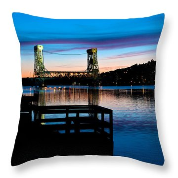 Houghton Bridge Sunset Throw Pillow