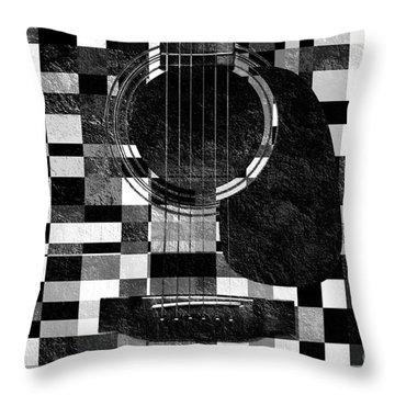 Hour Glass Guitar Random Bw Squares Throw Pillow by Andee Design