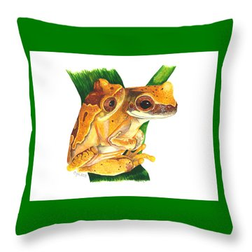 Hourglass Treefrog Throw Pillow by Cindy Hitchcock