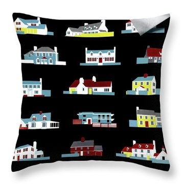House & Garden Cover Illustration Of 18 Houses Throw Pillow