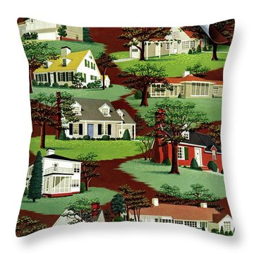 House & Garden Cover Illustration Of 9 Houses Throw Pillow