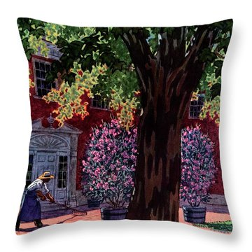 House & Garden Cover Illustration Of A Gardener Throw Pillow