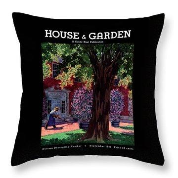 House & Garden Cover Illustration Of A Gardener Throw Pillow