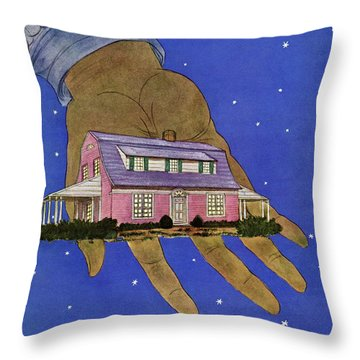 House & Garden Cover Illustration Of A Giant Hand Throw Pillow
