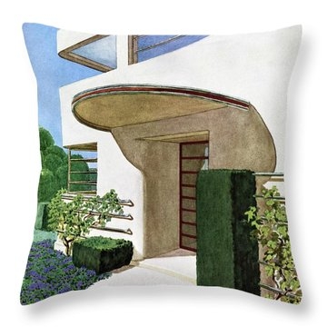 House & Garden Cover Illustration Of A Modern Throw Pillow