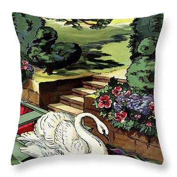 House & Garden Cover Illustration Of A Swan Throw Pillow