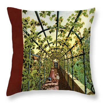 House & Garden Cover Illustration Of Young Girls Throw Pillow