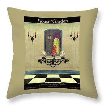 House And Garden Autumn Decorating Number Cover Throw Pillow