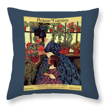 House And Garden Christmas Gift Number Cover Throw Pillow