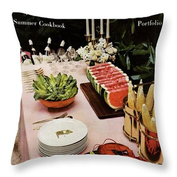 House And Garden Cover Featuring A Buffet Table Throw Pillow