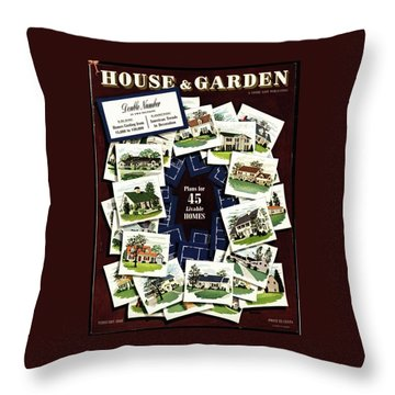 House And Garden Cover Featuring A Collage Throw Pillow