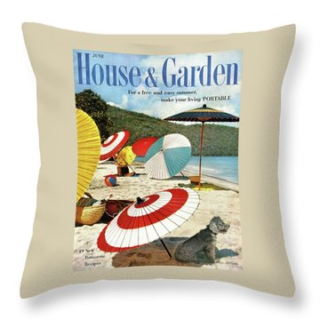House And Garden Featuring Umbrellas On A Beach Throw Pillow