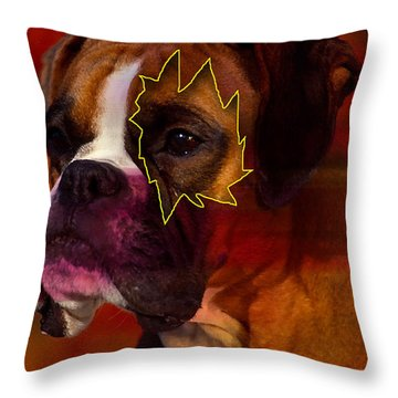 House Broken Boxer Painting Throw Pillow by Marvin Blaine